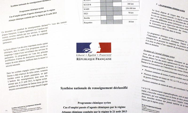 A picture taken on September 2, 2013 in Paris shows several pages of a synthesis note of France's various intelligence services which establishes, according to Paris, that the regime of Syrian president Bashar al-Assad was behind a deadly chemical attack on August 21.— Photo by AFP