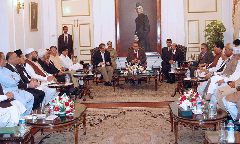 Prime Minister Nawaz Sharif at the Governor House in a meeting with Chief Minister Sindh Qaim Ali Shah, Governor Sindh Ishratul Ibad and representatives of major political parties.—Photo by APP