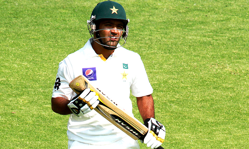 Pakistan batsman Asad Shafiq walks off the pitch after been being dismissed for 4 runs. -Photo by AP