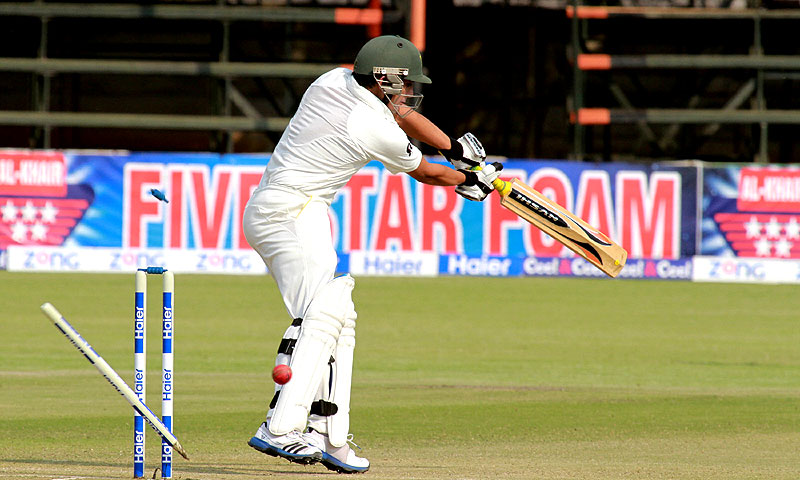 Pakistan batsman Adnan Kamal is bowled out for 18 runs during the first test match. – AP Photo