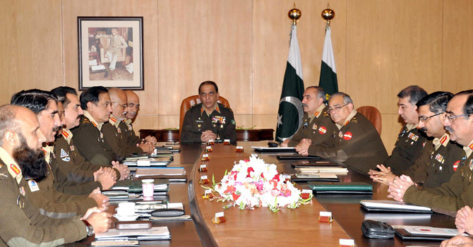 In this handout picture provided by Pakistani military Inter Services Public Relations (ISPR) on May 5, 2011 shows Pakistani army chief General Ashfaq Parvez Kayani (C) attending a Corps Commanders' Conference in Rawalpindi.  — File Photo