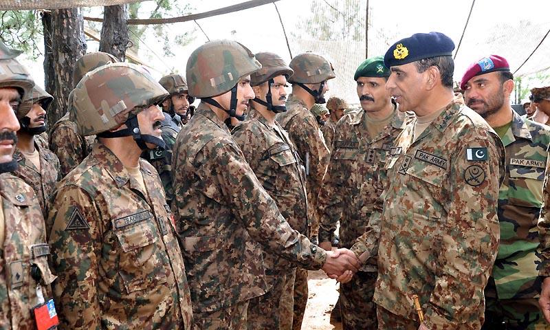 General Ashfaq Parvez Kayani, Chief of Army Staff  visited troops deployed on the Line of Control on Tuesday. This was his first visit to the troops at forward positions on the LoC since skirmishes erupted last month.  — Photo by INP