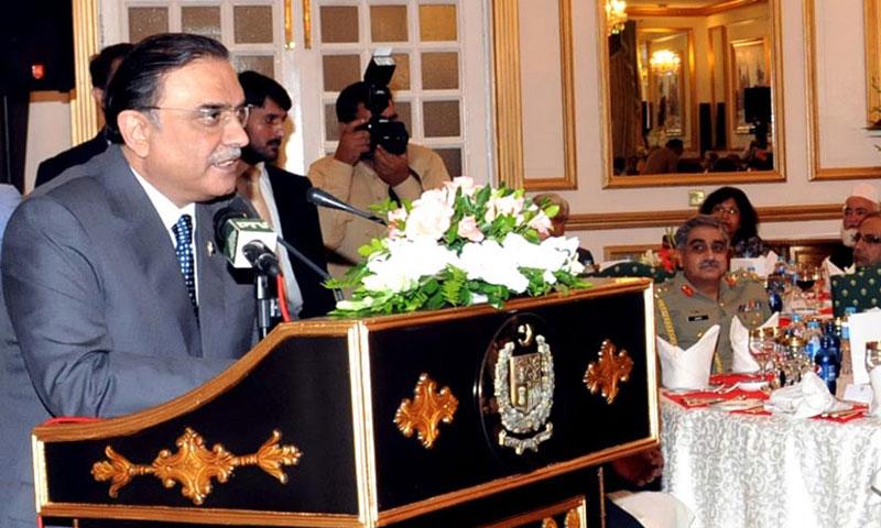 President Asif Ali Zardari addresses the farewell lunch hosted in his honour at Prime Minister's House on Thursday. – Online Photo
