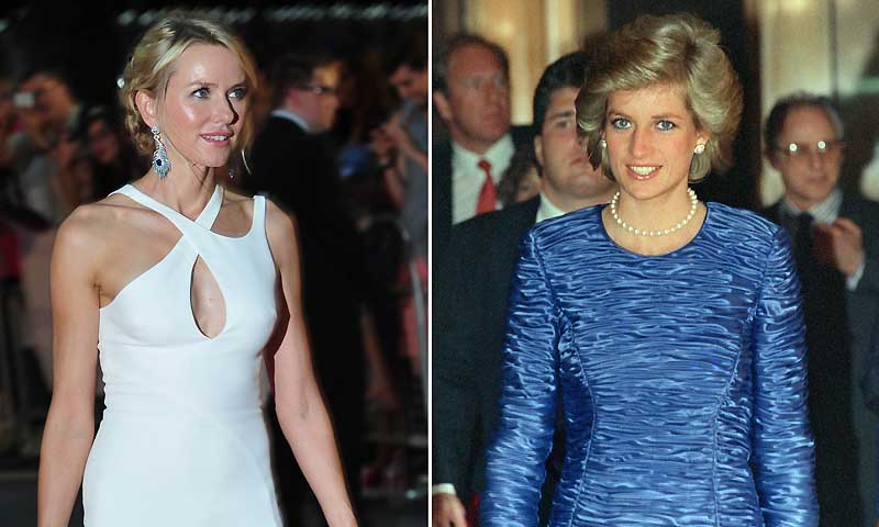 A combination of pictures shows (L) British-Australian actress Naomi Watts (who plays Diana, Princess of Wales) attending the world premiere of Diana in central London on September 5, 2013 and (R) a file picture of Diana, Princess of Wales arriving at the equitable building on a trip to New York in February 1, 1989. Some critics have noted that Watts bears little physical resemblance to Diana and had to wear a prosthetic nose for the film. — Photo by AFP