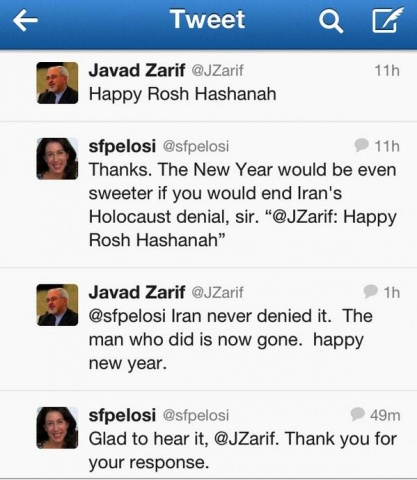 Twitter exchange of Iranian Foreign Minister Zarif and Christine Pelosi.