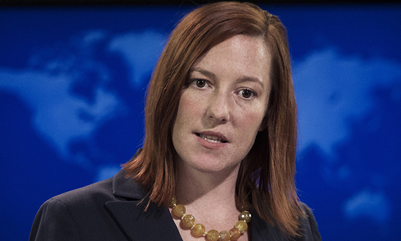 """We welcome Pakistan's statement yesterday that it is fully committed to the objectives of disarmament and non-proliferation,"" US State Department  Spokesperson Jen Psaki said. -Photo by AFP"
