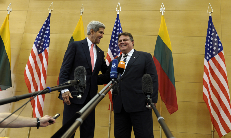 Secretary of State John Kerry and Lithuanian Foreign Affairs Minister Linas Linkevicius, right, make a joint statement at the Foreign Ministry of Lithuania in Vilnius, Lithuania, Saturday, Sept. 7, 2013. — Photo by AP