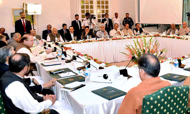Prime Minister Nawaz Sharif chairing the All Parties Conference (APC) in Islamabad on September 9, 2013.— File photo