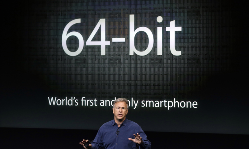 Phil Schiller, Apple's senior vice president of worldwide product marketing, speaks on stage during the introduction of the new iPhone 5s in Cupertino, Calif., Tuesday, Sept. 10, 2013. — AP Photo