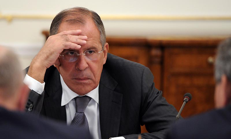 "A picture taken on September 9, 2013, shows Russia's Foreign Minister Sergei Lavrov attending a Security Council meeting chaired by President Vladimir Putin  in his Novo-Ogaryovo residence, outside Moscow. Yesterday Lavrov proposed for the Syrian regime to cede control of its chemical arms and subsequently have them destroyed, having seized a remark by US Secretary of State John Kerry that such a move, done ""without delay"" could avert a military strike.  — Photo by AFP"