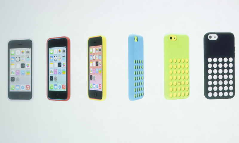 The five colors of the new iPhone 5C and the new case for the phone are seen at Apple Inc's media event in Cupertino, California September 10, 2013. — Reuters Photo