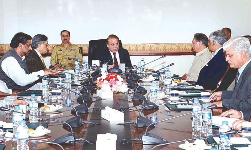 Prime Minister Nawaz Sharif presides over a meeting on PIA at the Prime Minister's Office on Thursday. — Photo by APP