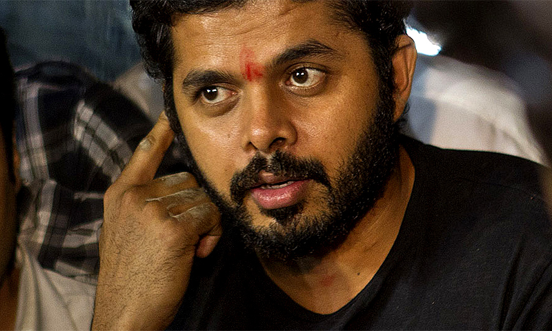 """Sreesanth (pictured), Ajit Chandila and Ankeet Chavan were found guilty on multiple accounts, including conceding a """"pre-determined number of runs per over in exchange for bribes."""" -Photo by AP"""