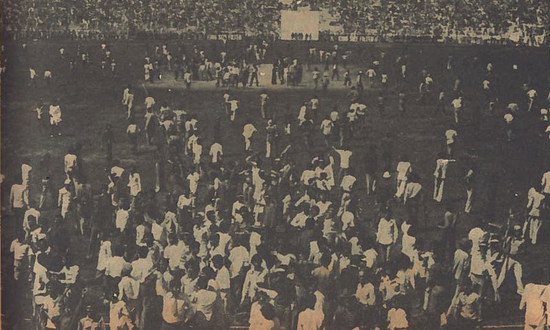 Students invade Karachi's National Stadium during a Test match against England in 1968.