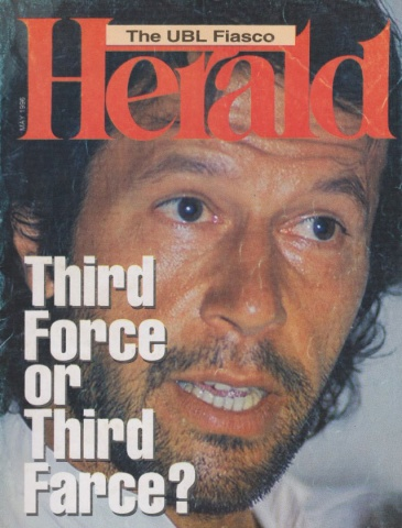 Cover of the May 1996 issue of the Herald. The main story was about Imran's emergence as a 'reborn Muslim' and the formation of his political party.