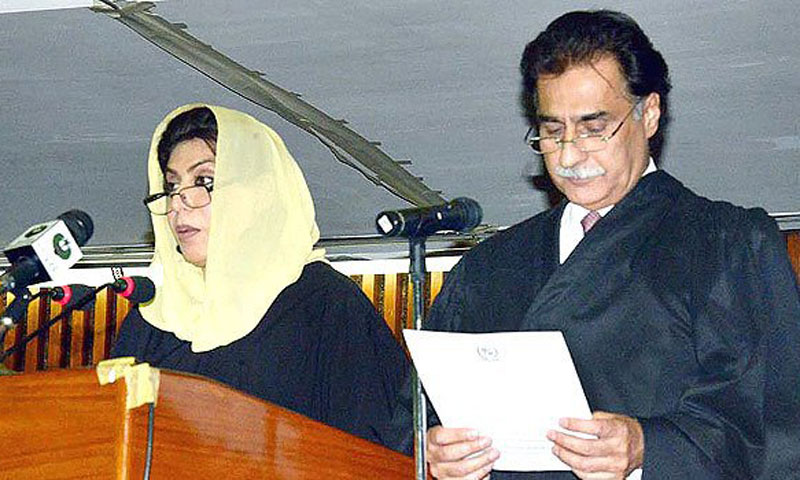 Sardar Ayaz Sadiq being administered the oath of office from predecessor Dr Fehmida Mirza. — File photo