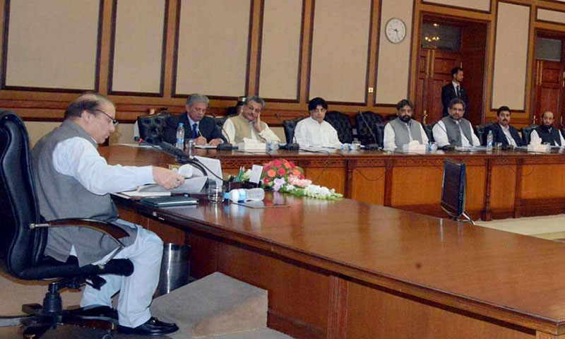 Photo shows Prime Minister Nawaz Sharif chairing a session of the federal cabinet at the PM Secretariat in Islamabad.—APP/File Photo