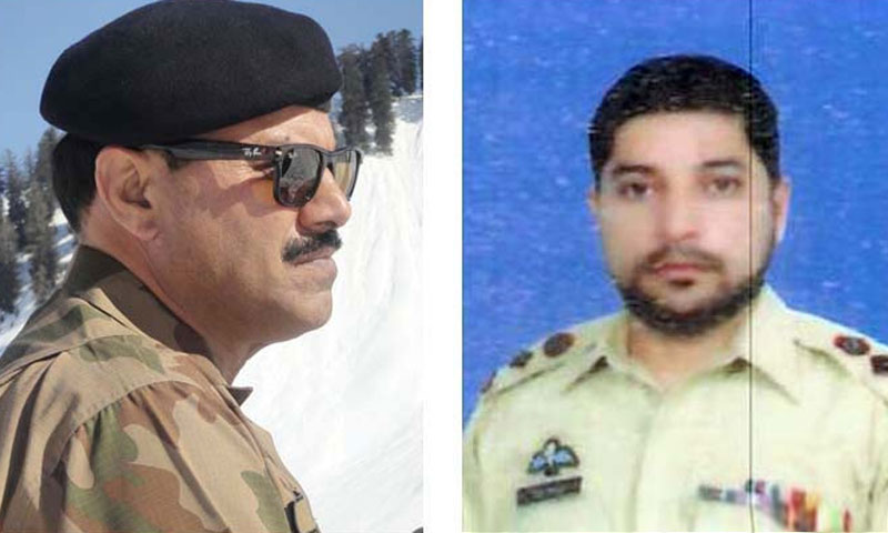 Gen Bukhari's first task in his new posting would be to raise the morale of his troops after the assassination of Gen Sanaullah (above L) in an improvised explosive device attack in which a colonel and a sepoy were also killed. — File Photo by Dawn