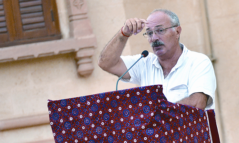 Prof Dr Michel Boivin speaks at the Mohatta Palace Museum. - Photo by White Star