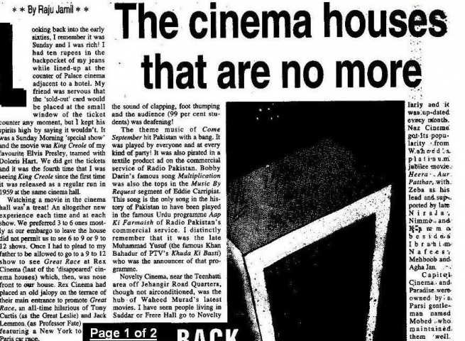 An article in DAWN on the number of cinemas that closed down or were transformed into apartment blocks and shopping plazas in the 1980s.