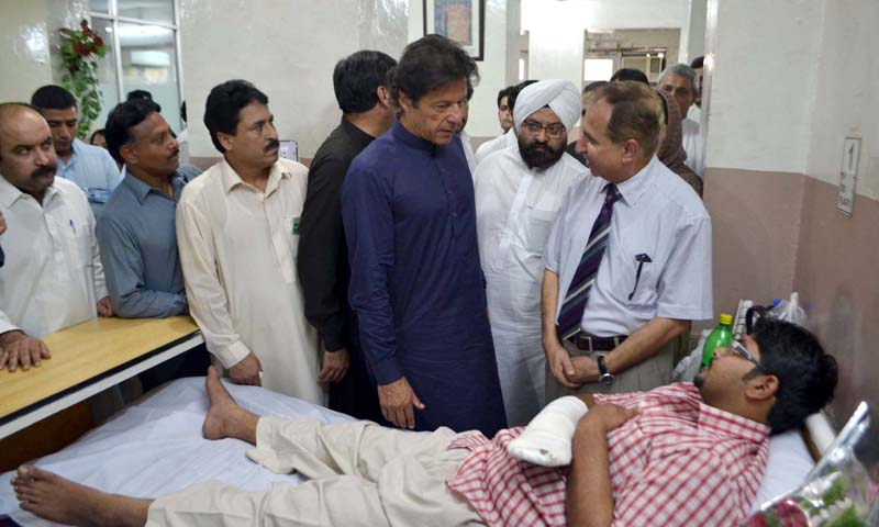 """If the Americans can allow the opening of office in Qatar to facilitate talks with the Afghan Taliban, why can't we do in our own country,"" Imran said during his visit to the lady Reading Hospital.  — PPI"