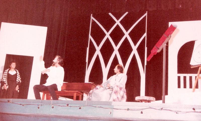 Galileo ki Daastaan: Nasreen Azhar, Aslam Azhar and Mansoor Saeed on the stage of the Rio auditorium Karachi.