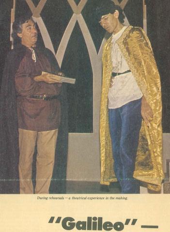 Aslam Azhar and Usama Azhar during the dress rehearsal of Galileo at the Rio auditorium, Karachi.