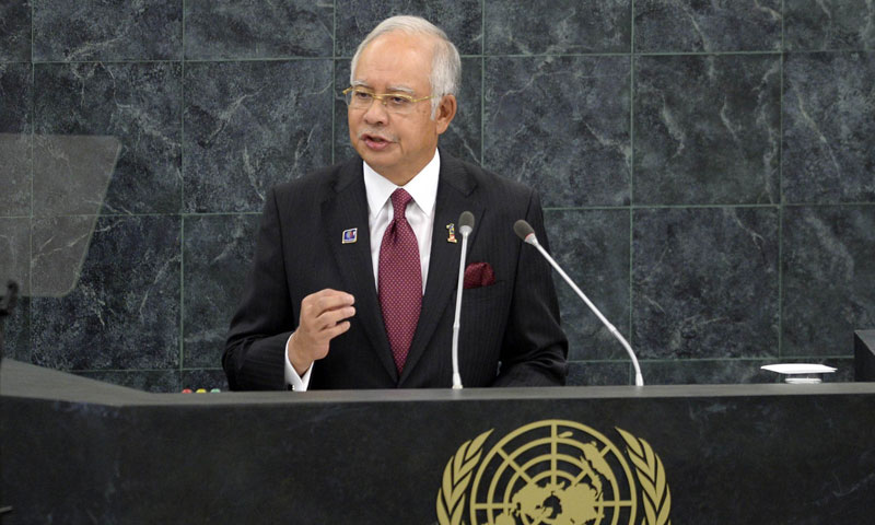 Dato Sri Mohd Najib Bin Tun Haji Abdul Razak Prime Minister of Malaysia addresses the audience during the 68th session of the United Nations General Assembly at the United Nations in New York on September 28, 2013. – AFP Photo