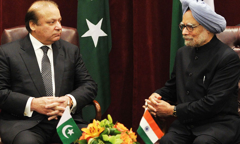 Singh and Sharif agreed to reduce tensions along the Line of Control in Kashmir as the first step towards a comprehensive peace in the region. -Photo by AFP