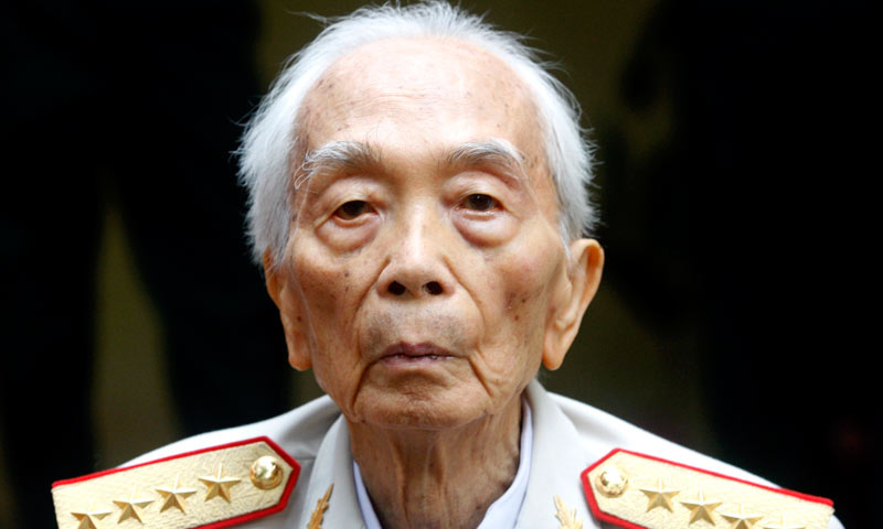 Vietnamese General Vo Nguyen Giap is seen at a residence in Hanoi in this August 4, 2008 file photo. -Reuters Photo