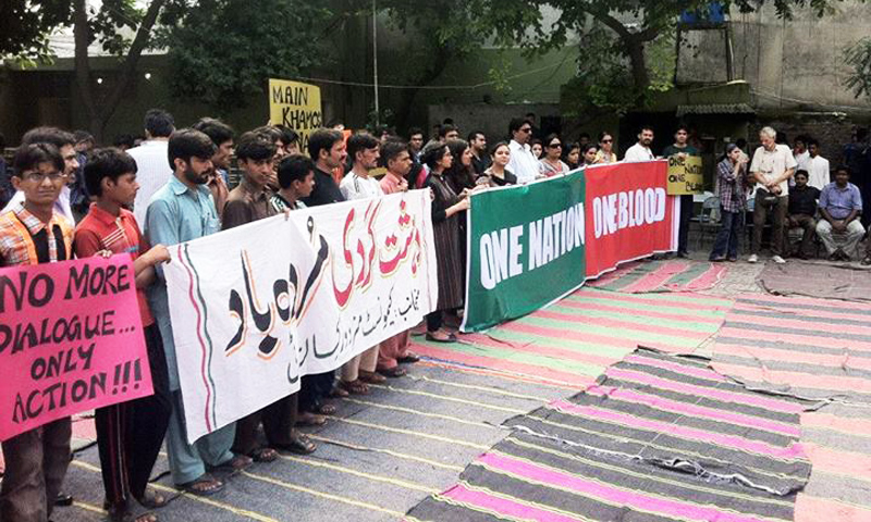 The participants raised slogans against those killing minorities and attacking their places of worships in the country. -Photo Courtesy: Pakistan For All