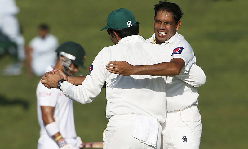 Zulfiqar Babar celebrates dismissing Duminy. -Photo by AFP