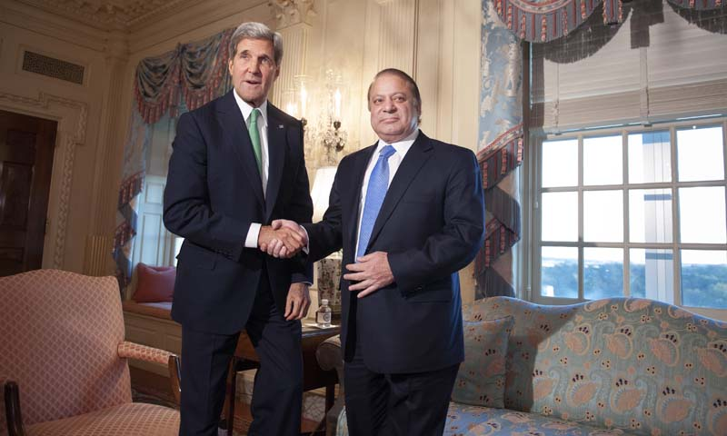 Secretary of State John Kerry shake hands with Pakistan Prime Minister Nawaz Sharif prior to their meeting at the State Department in Washington, Sunday, Oct. 20, 2013. — Photo by AP