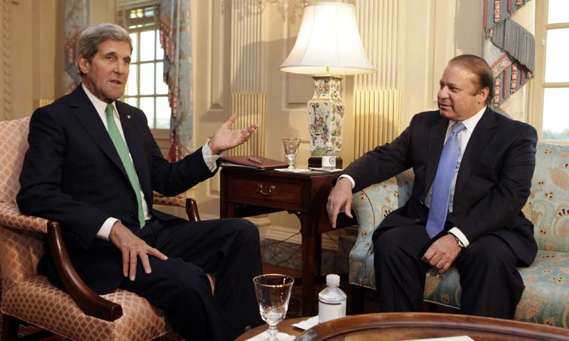 US Secretary of State John Kerry (L) meets with Pakistan's Prime Minister Nawaz Sharif at the State Department in Washington October 20, 2013. — Photo by Reuters