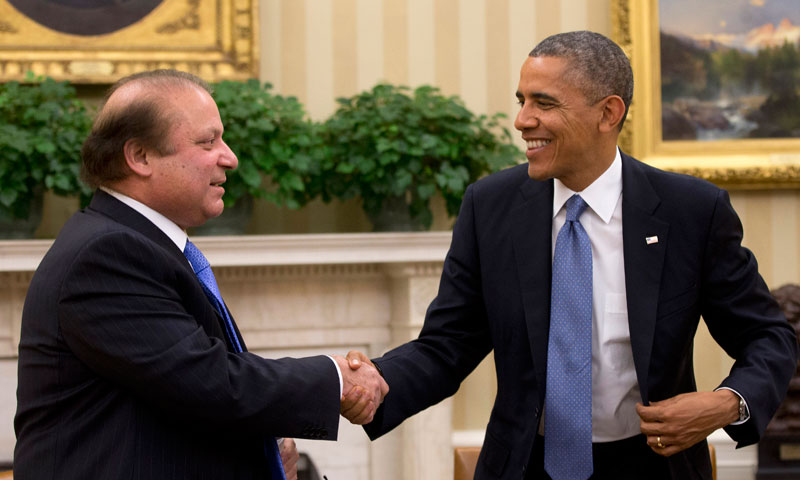President Barack Obama shakes hands with Prime Minister Nawaz Sharif at the conclusion of their meeting in the Oval Office of the White House in Washington,  Oct 23, 2013. – AP Photo