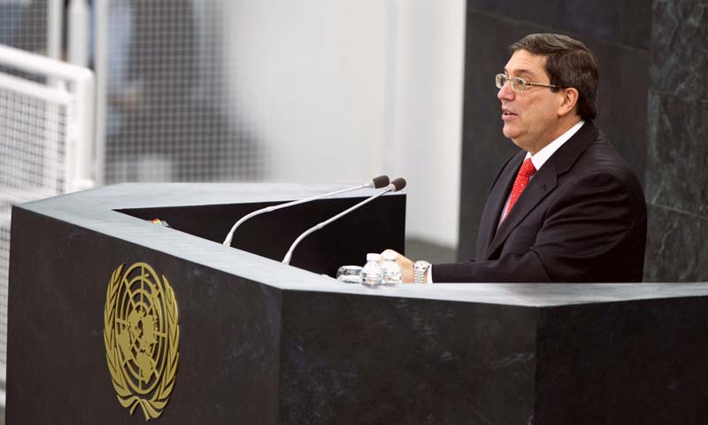 In this Tuesday, Oct. 29, 2013 photo provided by the United Nations, Cuban Foreign Minister Bruno Rodriguez Parrilla addresses the United Nations General Assembly at U.N. Headquarters. The UN General Assembly voted overwhelmingly on Tuesday to condemn the US commercial, economic and financial embargo against Cuba for the 22nd year in a row. — Photo AP