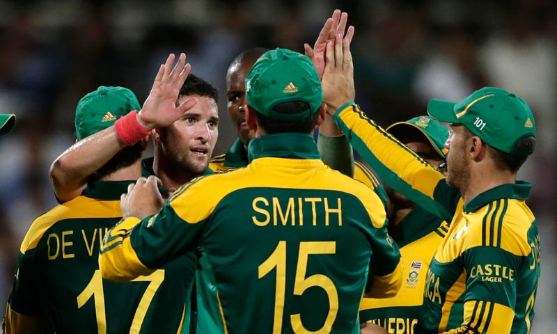 South Africa's Wayne Parnell, second left, celebrates with his teammates after taking the wicket of Pakistan's Mohammad Hafeez during the first one-day international cricket match between Pakistan and South Africa at the Sharjah Cricket Stadium in Sharjah. — AP Photo