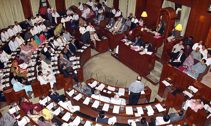 A view of the Sindh Assembly session chaired by Acting Speaker Sindh Assembly Shehla Raza on Thursday. – APP Photo