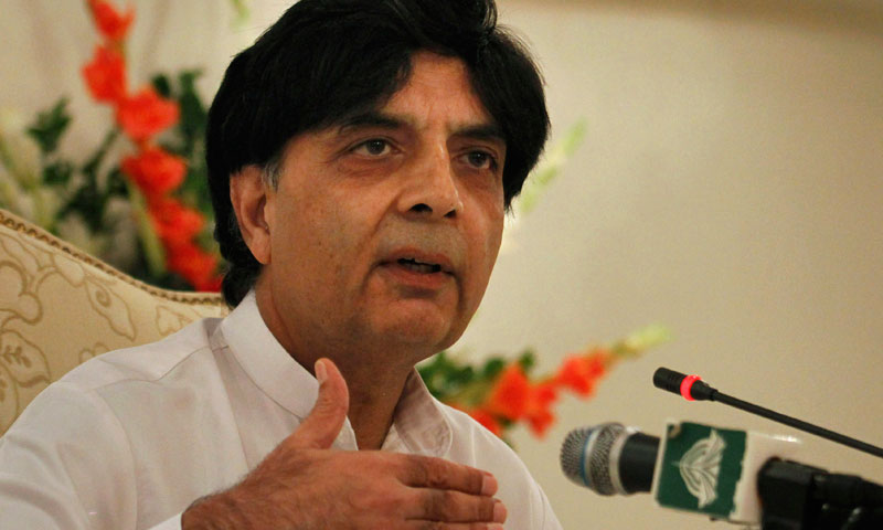 Pakistan's Interior Minister Chaudhry Nisar Ali gestures during a press conference Saturday, Nov. 2, 2013 in Islamabad. – AP Photo