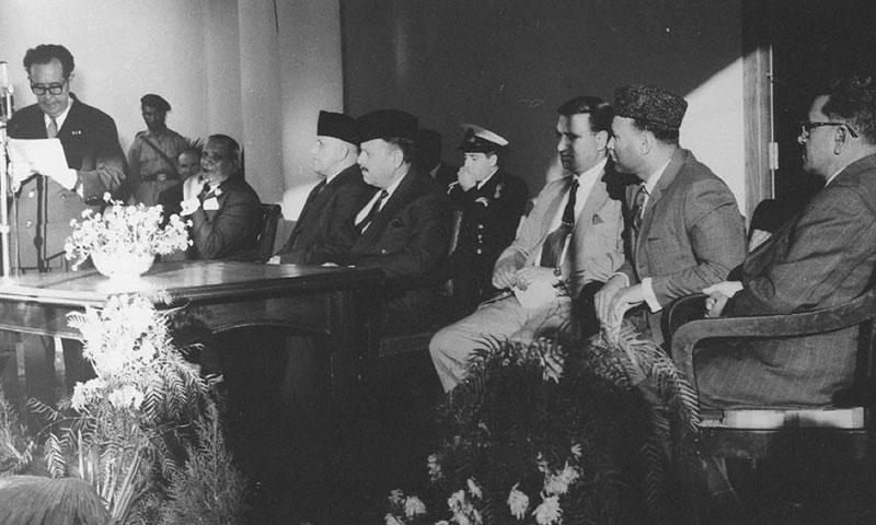 November 1963; Dr. Guiseppe Tucci addressing (from L-R) major General Abdul Haq Jehanzeb, (Wali of Swat), Gen Ayub Khan, the Nawab of Dir, and Wali Ahad Miangul Aurangzeb at the opening of the first Swat Museum.