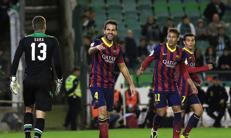 Cesc Fabregas 2nd L Celebrates Next To Neymar And Real Betis