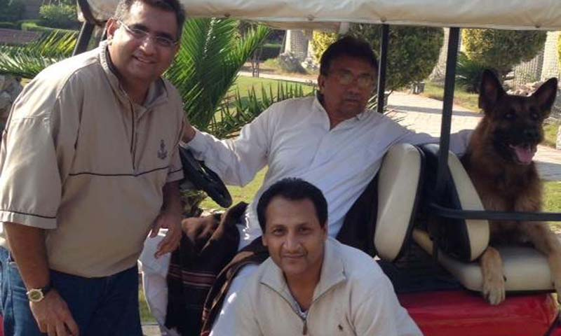 "A photograph posted on Sunday by retired Gen Pervez Musharraf on his Facebook page just hours before the announcement by the government that it has decided to initiate his trial under Article 6 shows the former military ruler relaxing with two of his associates. The caption posted along with the picture read: ""I was happy to see Raza(L), my International Spokesperson, and Shahzad, my point if contact in Canada, in my house in Islamabad.PM""."