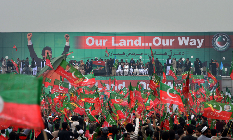 PTI activists wave party flags during a protest rally in Peshawar on November 23, 2013.—AFP Photo