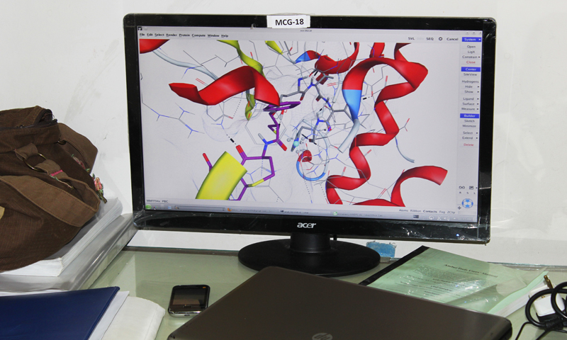 A computer screen shows the binding of molecules in the computational biological labs at PCMD.