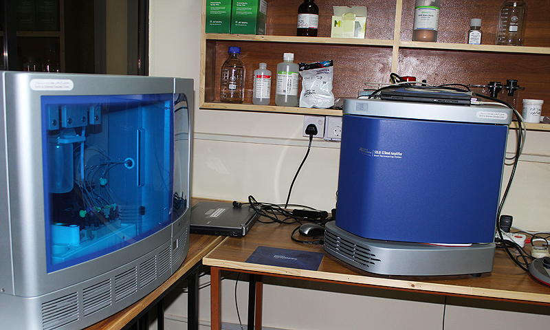 The fast track gene sequencing machine which produces 180 GB of data in a single reading session. -Photo by author