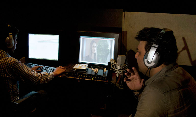 Pakistani actor Khawar Hussain speaks during a voiceover recording on a Turkish drama serial. — Photo by AP