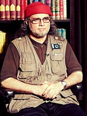 Capped in red but nowhere to go: Right-wing TV personality and 'security analyst' Zaid Hamid.