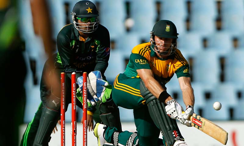 South Africa's Ryan McLaren plays a Pakistan's Bilawal Bhatti delivery during their One-Day International (ODI) cricket match at Centurion. -Reuters Photo