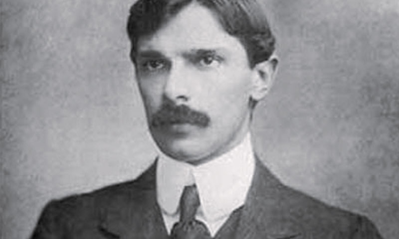A young M.A. Jinnah looking dapper in his walrus-styled moustache.