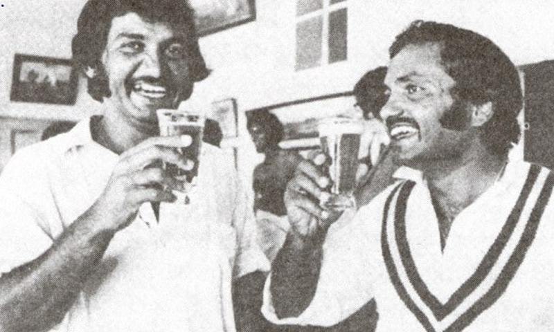 Former Pakistani opening batsman, Sadiq, and captain Mushtaq, celebrate Pakistan' cricket team's victory against Australia in 1976. With a pint of beer.